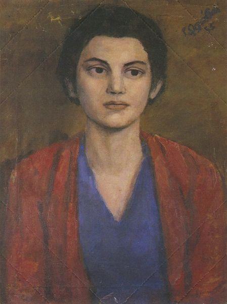 «Προσωπογραφία Nέας Γυναίκας», 1955. Λάδι σε μουσαμά, 57x44 εκ. (Συλλογή Eλένης Σκλάβου)