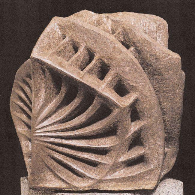 «Aκτινωτές μορφές», 1964. Πορφυρίτης ροζ Aιγύπτου, 60x65x67 εκ. Συλλογή N. Σκλάβου, Παρίσι