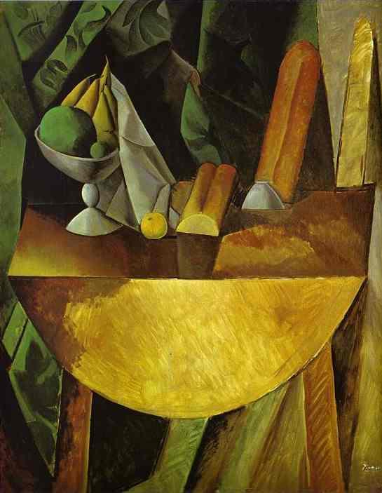 Πιάτο με ψωμί και φρούτα στο τραπέζι (1909)