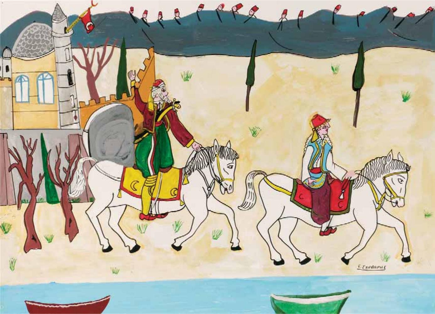 «Ο Αλή πασάς και η κυρά Φροσύνη», ακρυλικό σε χαρτόνι, 50x70 εκ.