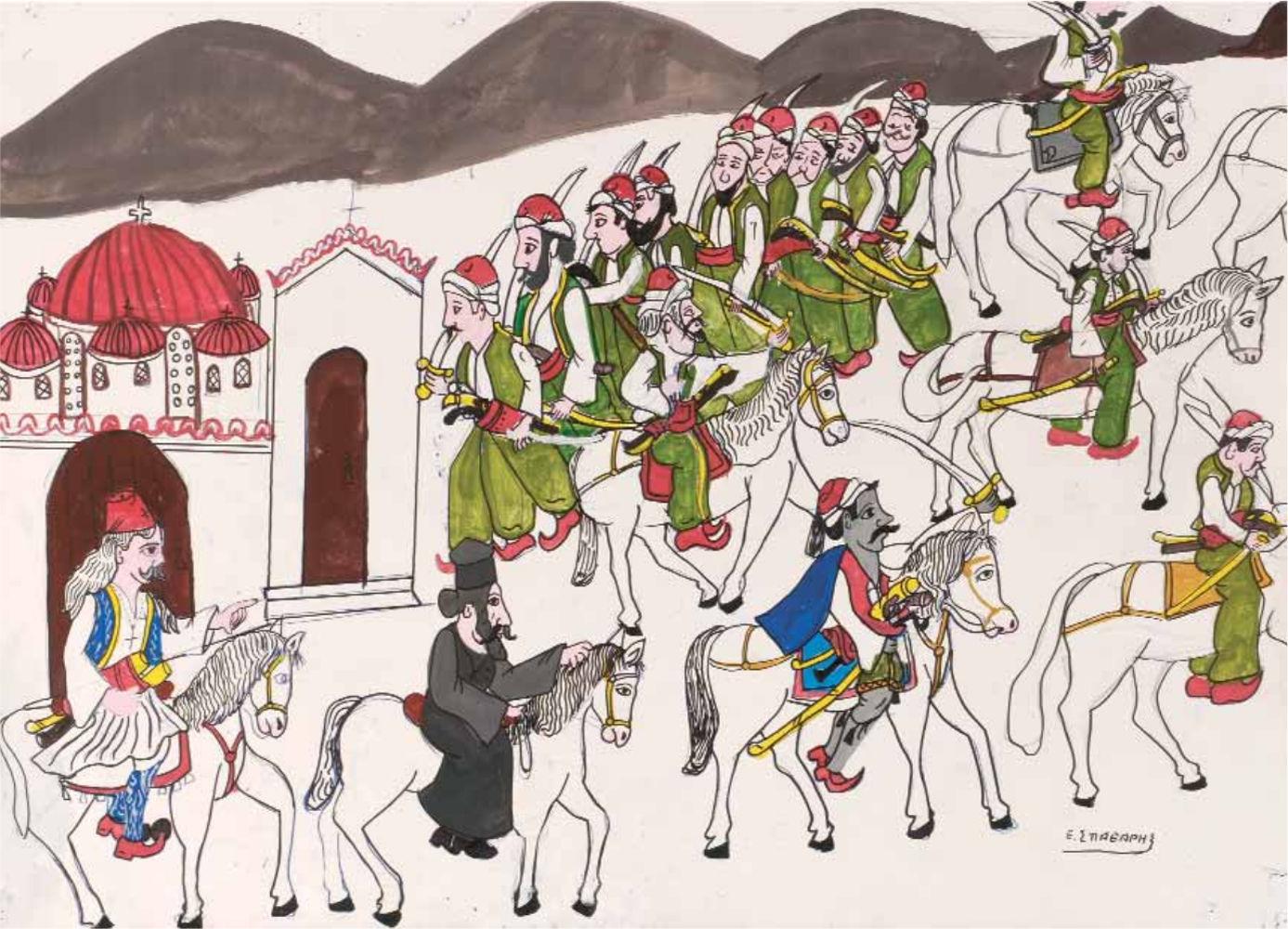 «Ο Κατσαντώνης οδηγείται στα Γιάννενα», ακρυλικό σε χαρτόνι, 50x70 εκ.