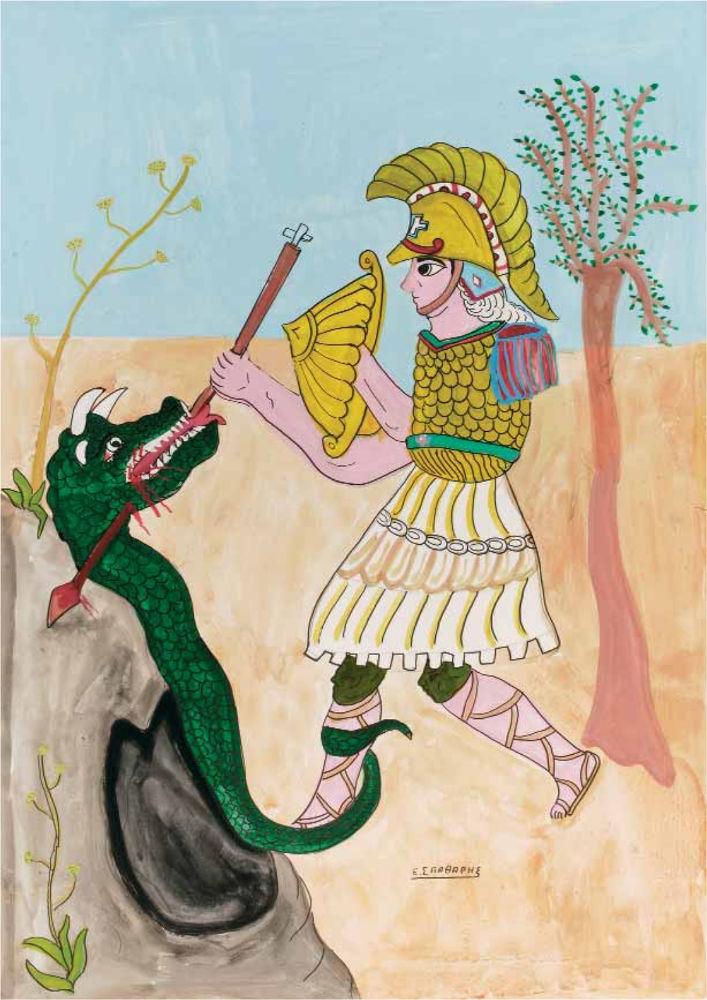«Ο Μέγας Αλέξανδρος και το καταραμένο φίδι», ακρυλικό σε χαρτόνι, 100x70 εκ.