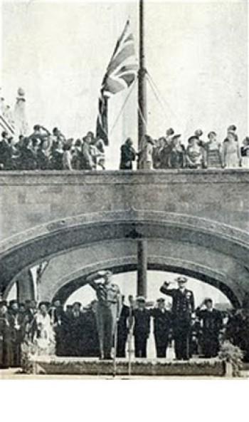 Υποστολή της αγγλικής σημαίας στη Ρόδο και έπαρση της ελληνικής.