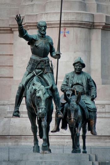 Αγάλματα του Δον Κιχώτη και του Σάντσο Πάντσα στη Μαδρίτη