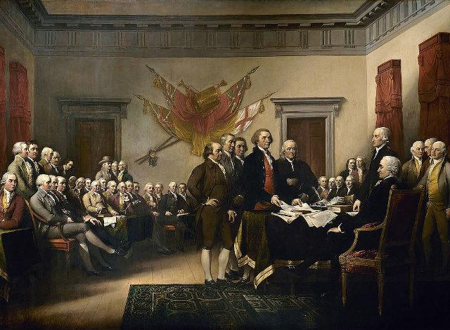 H υπογραφή της Διακήρυξης της Ανεξαρτησίας. Πίνακας του Ραλφ Τρέμπλι.