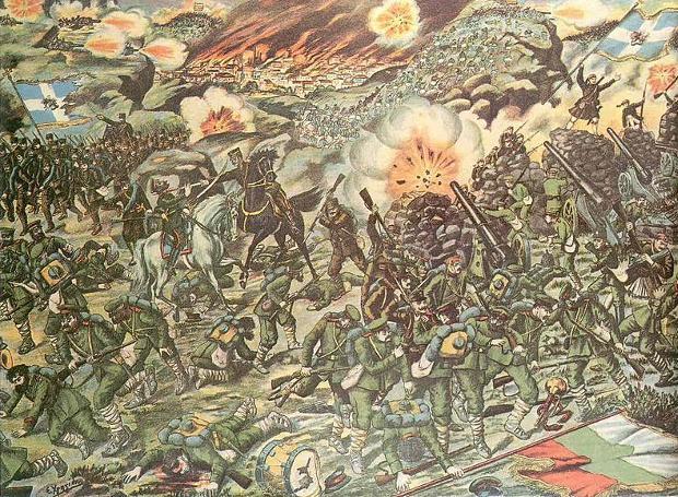 Η Μάχη του Κιλκίς, λιθογραφία του Σωτήρη Χρηστίδη (1858-1940)