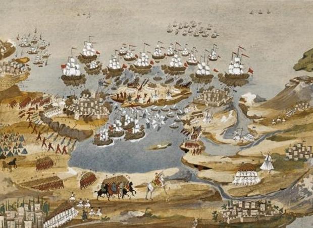 Η μάχη της Σφακτηρίας, πίνακας του λαϊκού ζωγράφου Παναγιώτη Ζωγράφου.