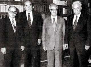 Λ. Κύρκος, Κ. Μητσοτάκης, Χ. Σαρτζετάκης, Χ. Φλωράκης