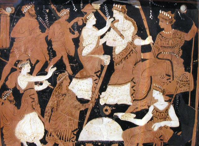 Αναπαράσταση των Ελευσίνιων Μυστηρίων (Αναθηματικός πίνακας της Νιννίου, 4ος αι. π.Χ.)