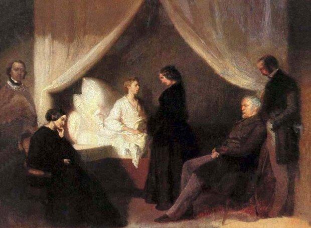 Ο Σοπέν στο κρεβάτι του θανάτου (πίνακας του Τ.Κβιατόφσκι, 1849)