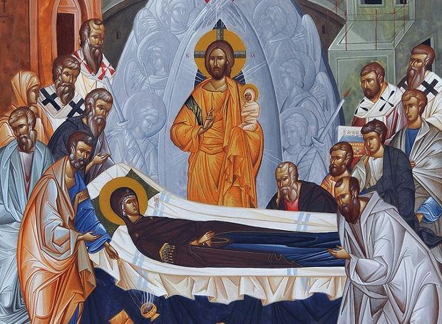 Η Κοίμησις της Θεοτόκου, εικόνα του αγιογράφου Κωνσταντίνου Γιαννάκη