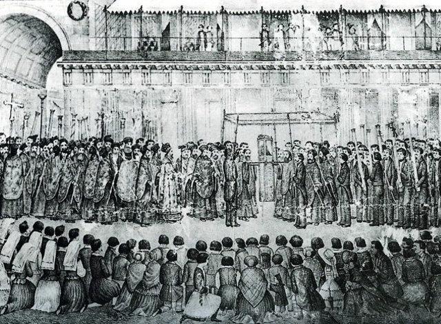 Πρωτοκύριακο, Λιτάνευση Αγίου Σπυρίδωνος, 19ος αιώνας