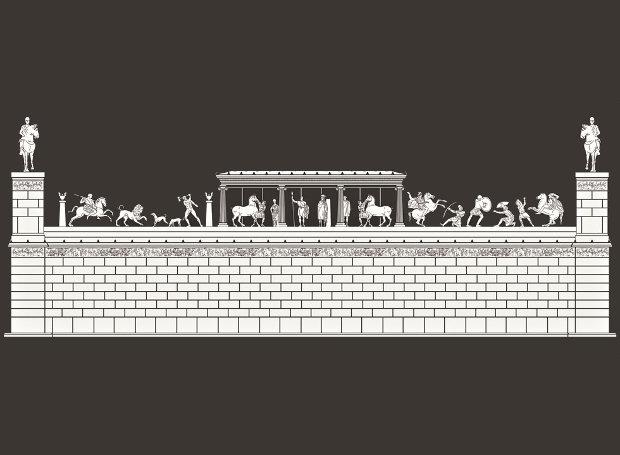Αναπαράσταση του μνημείου από τους αρχαιολόγους της Εφορείας Αρχαιοτήτων Πιερίας