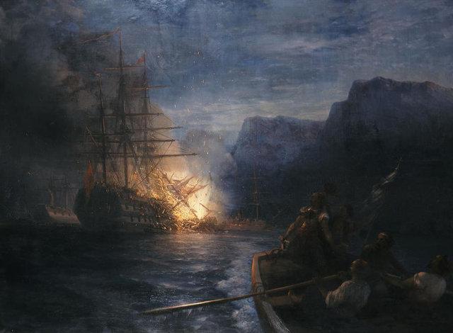 Η πυρπόληση της τουρκικής ναυαρχίδας από τον Κανάρη, πίνακας του Ιβάν Αϊβαζόφσκυ (1881)