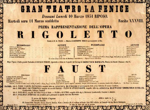 Αφίσα από την πρεμιέρα του Ριγολέττου στο Θέατρο Λα Φενίτσε της Βενετίας