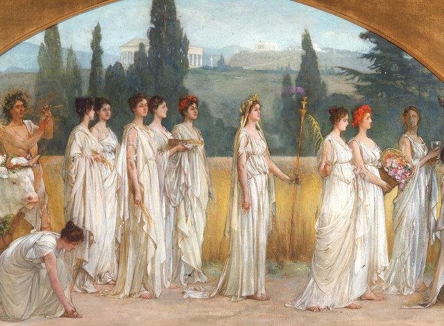 «Σπουδή στα Θεσμοφόρια», πίνακας του αμερικανού ζωγράφου Φράνσις Μίλετ (1848-1912)