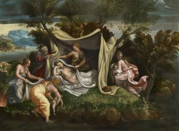 Η γέννηση της Αρτέμιδος και του Απόλλωνα στη Δήλο (πίνακας του Τζούλιο Ρομάνο, 1530-1540)