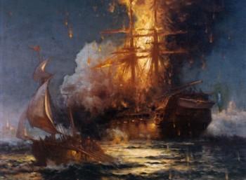 Η φλεγόμενη φρεγάτα «Φιλαδέλφεια» (πίνακας του Έντουαρντ Μοράν)