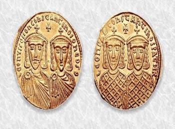 Ο Λέων Δ΄ μαζί με τον Κωνσταντίνο ΣΤ΄ σε νόμισμα της εποχής.