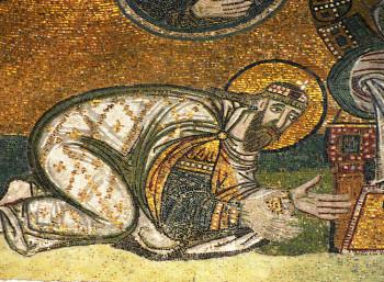 Ψηφιδωτό στην Αγία Σοφία (Κωνσταντινούπολη), που απεικονίζει τον Λέοντα ΣΤ΄ (866 – 912) να αποτίει φόρο τιμής στον Χριστό.