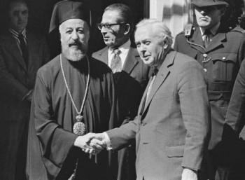 Ο Αρχιεπίσκοπος Μακάριος και ο Βρετανός πρωθυπουργός Χ. Γουίλσον