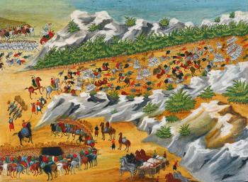 «Πόλεμος των Βασιλικών». Πίνακας του Παναγιώτη Ζωγράφου με την καθοδήγηση του Στρατηγού Μακρυγιάννη