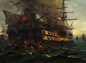 Η πυρπόληση του τουρκικού δικρότου στην Ερεσσό (1882)<br>Πίνακας του Κωνσταντίνου Βολανάκη (1837-1907)