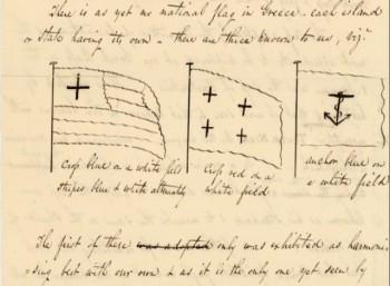 Η ελληνική σημαία με σινική μελάνη σε μια επιστολή του 1824 από τη Ν.Υόρκη